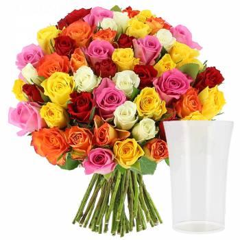 Bouquet de roses - Roses Multicolores + Vase OFFERT