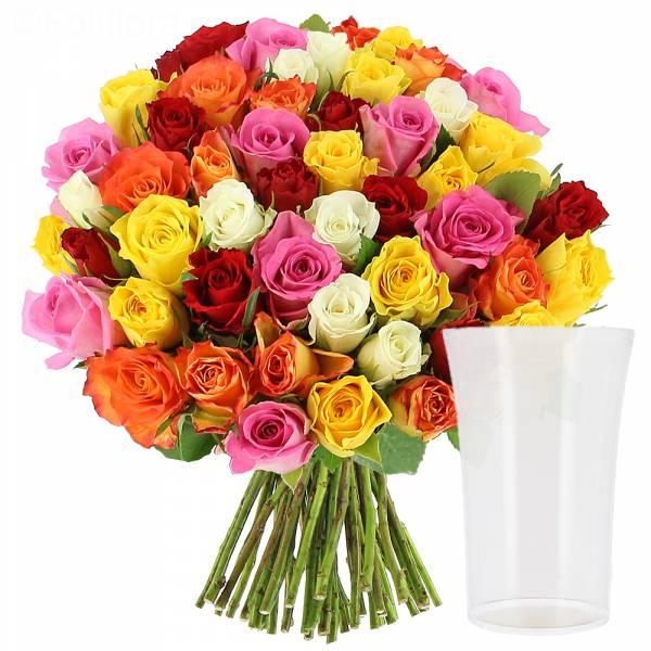 Roses Multicolores + Vase OFFERT