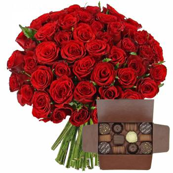 - Red roses + Box of chocolates